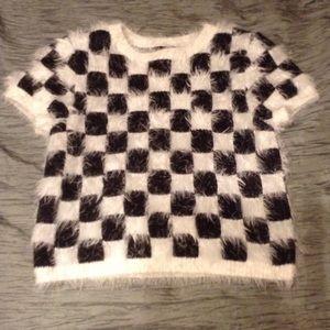 Forever 21 black n white Checkered furry soft L